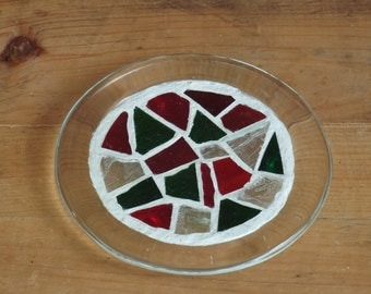Pillar Candle Base; Stained Glass Mosaic Candleholder