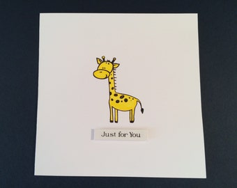 Just For You Yellow Giraffe Birthday Card