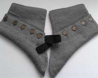 Gentlemen's Grey Herringbone Tweed Spats