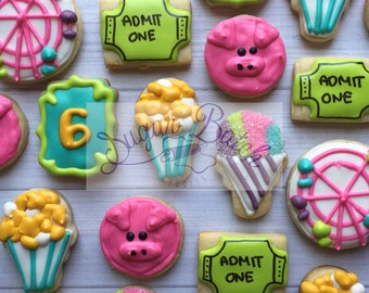 2 Dozen Mini Fair Theme Decorated Cookies Set