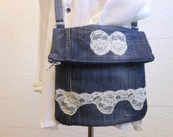 Recycled jeans crossbody bag
