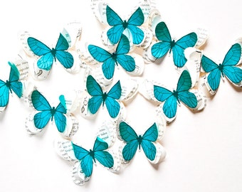 Blue paper butterflies, turquoise mirror embellishment, wall art decor