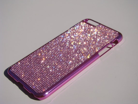 iPhone 6 Plus / 6s Plus Pink Diamond Rhinestone Crystals on Pink Chrome Case. Velvet/Silk Pouch Bag Included, Genuine Rangsee Crystal Cases.