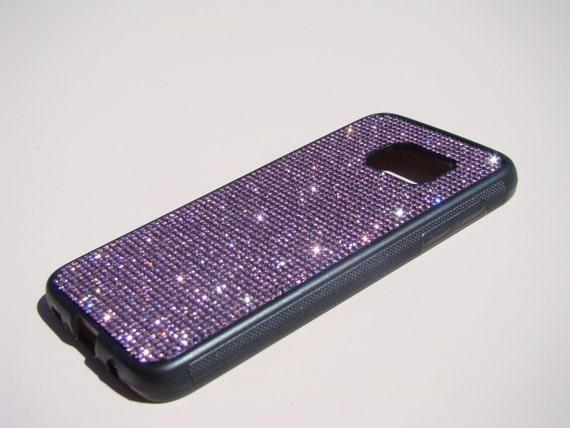 Galaxy S7 Purple Amethyst Diamond Rhinestone Crystals Black Rubber Case. Velvet/Silk Pouch Bag Included, Genuine Rangsee Crystal Ca