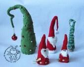 Three santa and a large Christmas tree- knitting pattern (knitted round). New year pattern. Christmas pattern.