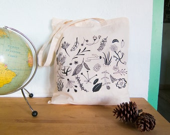 Cotton tote bag - silkscreened plants shopping bag -  canvas