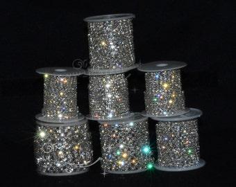 SS6/SS8/SS10/SS12/SS14/SS16/SS18/SS20 888 Crystal Rhinestone Chain Silver