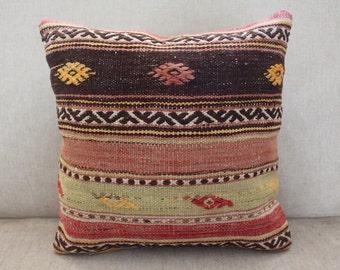 Traditional Kilim Pillow - Turkish Pillow - Anatolian Kilim Pillow - Decorative Pillow - Organic Wool- Local Craft - Red-Yellow-Black-0445