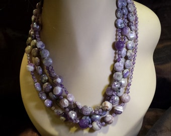 Four strand amythyst beaded necklace by petronella designs