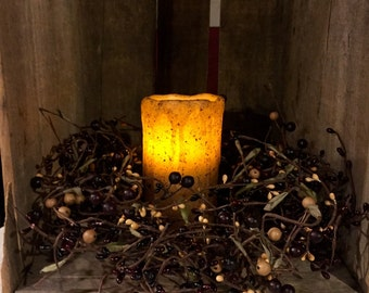Grapevine Wreath with Pip Berries and Primitive Pillar Candle Centerpiece--Primitive Decor-Primitive Candle Holder--FREE SHIPPING