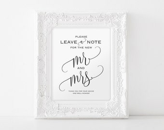 Wedding Advice Sign, Please Leave a Note Sign, Wedding Sign, Guestbook Alternative, Well Wishes Sign, PDF Instant Download #BPB203_21