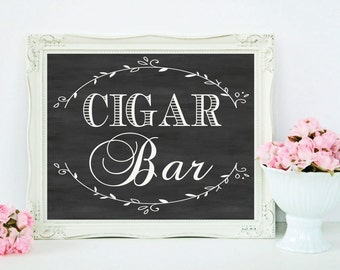 "Chalkboard Wedding Cigar Bar Sign - Wedding Sign - 8""x10"" Instant Download - Rustic DIY Wedding Decor - Grove Collection"