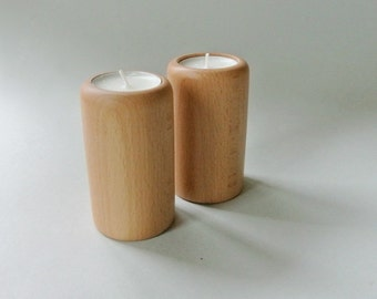 2 Wood Tea Light Holders. Canddle holders