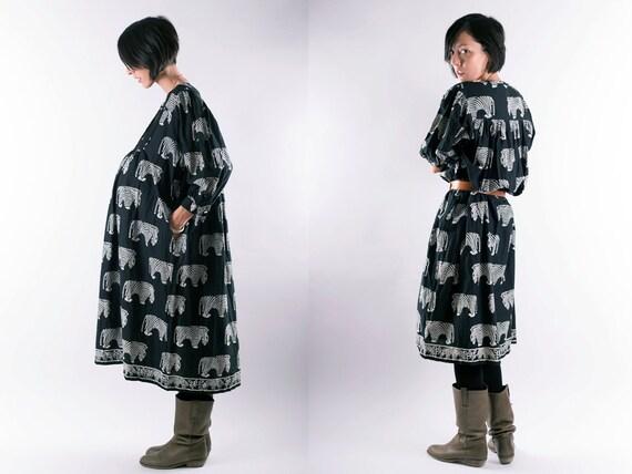 Black Indian Tent Dress, Jungle Tribal Dress, Ethnic Comfy Full Dress, Cotton Zebra Print Dress