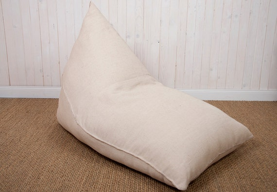 Wool Filled Bean Bag Chair Removable Sailcloth Cover Inner