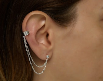 Silver Ear Cuff earring double chain. double chain ear cuff. ear cuff.. ear cuffs earring. ear cuff sterling silver. earcuff .ear cuff chain
