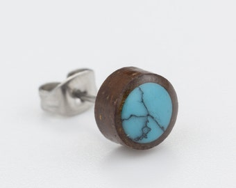 Raw stone earrings. turquoise stud earrings. tiny stud earrings. wood earrings. botanical jewelry. nature inspired