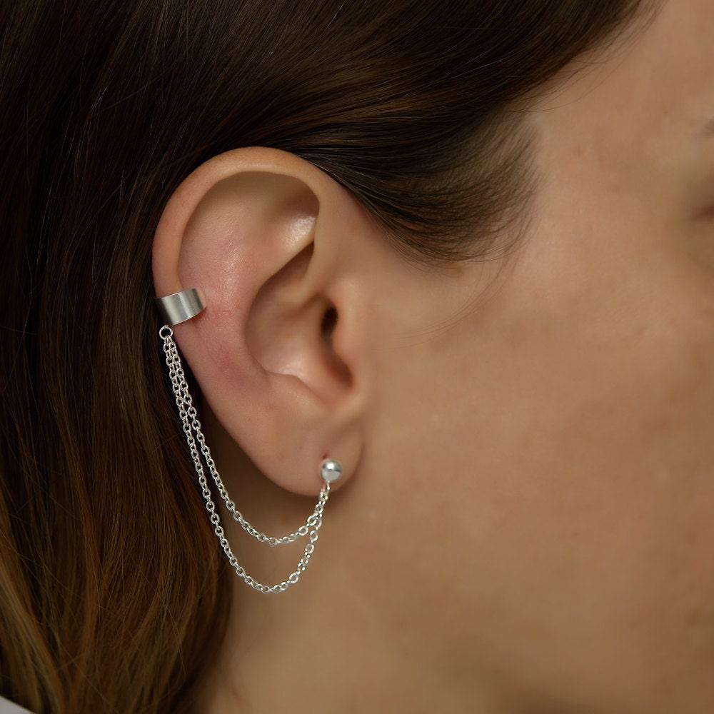 Silver Ear Cuff Earring Double Chain Double Chain Ear Cuff