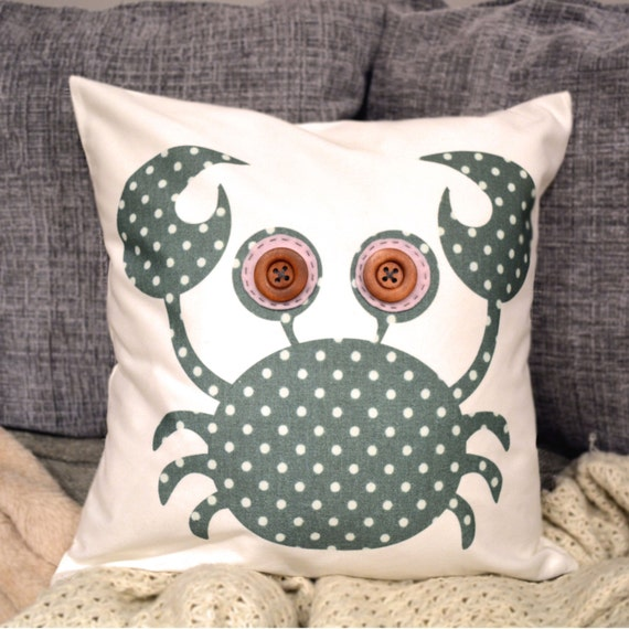 "Half price! Crab Cushion - Green Polka Dot ""The Happy Crabbies"" Collection, Floral, Pink, Grey, Fleur de lys, Tamsin Reed Designs"