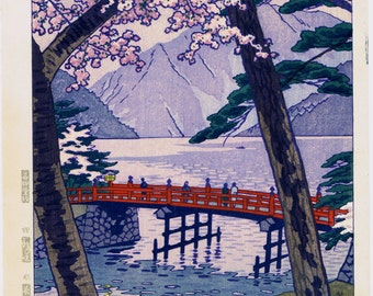 "Japanese Ukiyoe, Shin-hanga, Woodblock print, antique, Kasamatsu Shiro, ""Lake Chuzenji in Nikko"""