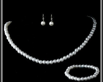 Pearl Necklace Sets 3 Pieces Stretch Bracelet Communion , Flower Girl Jewelry Gift