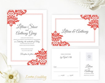 red wedding invitation set printed on white shimmer cardstock damask wedding invitations with rsvp - Cheap Wedding Invitations Packs