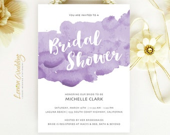 Purple watercolor Bridal Shower Invitations -  wedding shower invitations printed on pearlescent paper | Cheap bridal shower cards