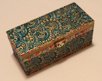 Gold/Blue/Multicolor Jewelry Box