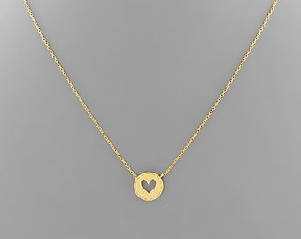 Gold Heart & Stitch Charm Necklace