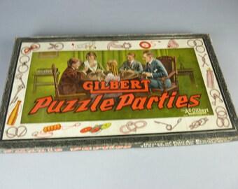 Vintage Gilbert Puzzle Parties sET