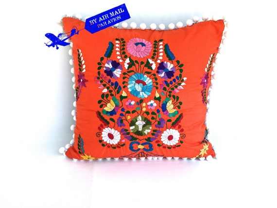Orange embroidered mexican dress pillow cover square