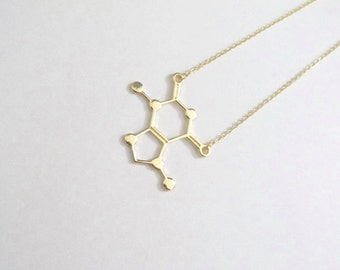 New Style Caffein necklace caffeine molecule necklace gold plated trendy chemistry necklace bridesmaid gift