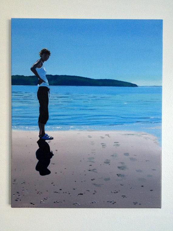 Pacific Northwest, beach painting, self portrait,