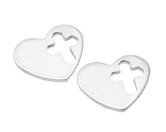 10PCs Stainless Steel Stamping Blank Heart Hollow Cross Pendants