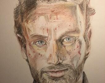 Rick Grimes - Watercolor Pencil Illustration - The Walking Dead