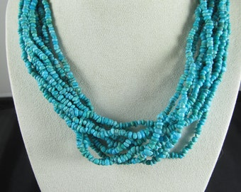 Turquoise Multi Strand Torsade Necklace with Sterling Caps