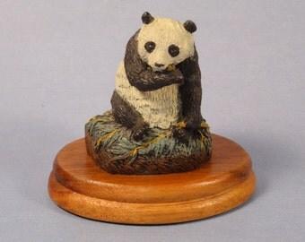 Deaton Wildlife Miniature Panda Cast Bronze Figurine 1978 with Wood Base
