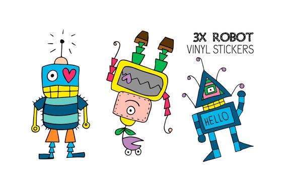 3 Vinyl Robot Stickers From Planetokashii On Etsy Studio