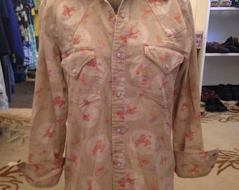 Seventies western bucking bronco cowboy shirt with pearlized snaps