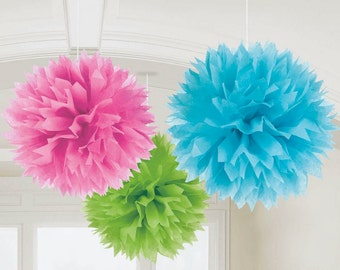 """Cute Multicolor Fluffy, 16"""", Pink/Teal/Green - Party Decorations party themes reception theme ideas birthday party favors supplies ideas"""
