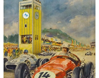 Vintage Reproduction Racing Poster 1957 Nurburgring Grand Prix