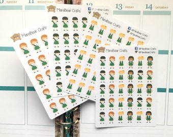 30 Girl Scout Stickers! Perfect for your Erin Condren Life Planner, Filofax, Plum Paper & other planner or scrapbooking!