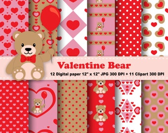 Valentine Bear Digital Paper, Bear Clipart, Teddy Bear, Love, Valentine Day, Heart, Digital Clipart, Red, Pink, Balloon, Commercial Use.