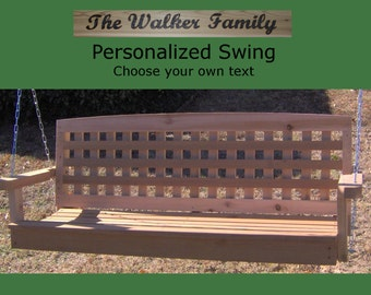New Personalized 7 Foot Cedar Wood Lattice Porch Swing - Choice of Name/Phrase Woodburned On Swing - Hanging Rope - Free Shipping