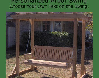 New Personalized Cedar Pergola Style Arbor & 6 Foot Porch Swing - Choice of Name/Phrase Woodburned on Swing - Hanging Chain - Free Shipping