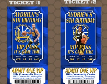 Golden State Warriors Basketball Birthday Party Ticket Invitations Printable Uprint Digital Printed Options * 4 Designs * READ DESCRIPTION*