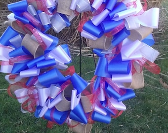 Red White and Burlap Loop Wreath Large Size