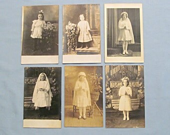 Six RPPC Postcards, Little Girls, First Communion White Dresses, Real Photo, Circa 1910