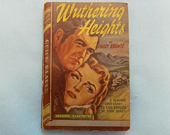 "Tiny Abridged Book ""Wuthering Heights"", 1944 Paperback, Only 4-1/2 Inches High, Emily Bronte"