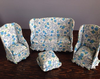 Vintage Miniature Dollhouse Furniture- Cloth Couch & Wing Back Chairs 1950's